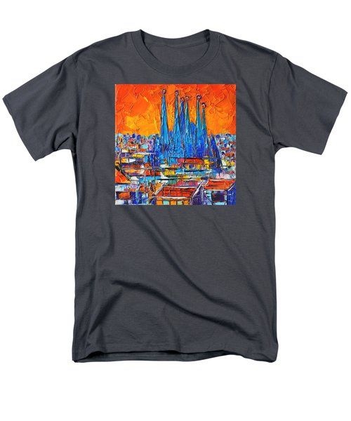 Barcelona Abstract Cityscape 7 - Sagrada Familia Men's T-Shirt  (Regular Fit) by Ana Maria Edulescu