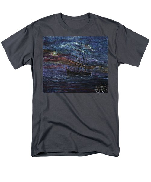 Men's T-Shirt  (Regular Fit) featuring the pastel Barco Negro- Tribute To Amalia Rodrigues by AmaS Art