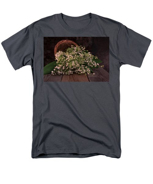 Men's T-Shirt  (Regular Fit) featuring the photograph Basket Of Fresh Lily Of The Valley Flowers by Jaroslaw Blaminsky