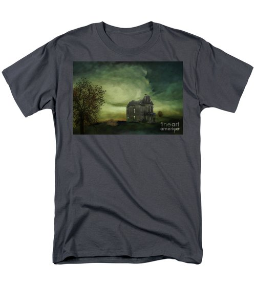 Men's T-Shirt  (Regular Fit) featuring the mixed media Bates Residence by Jim  Hatch