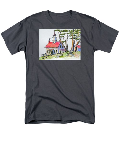 Men's T-Shirt  (Regular Fit) featuring the painting Battery Point Lighthouse by Terry Banderas