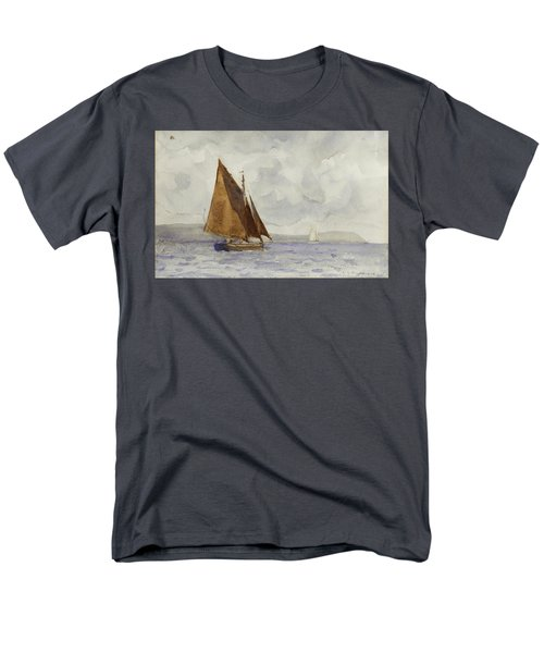 Men's T-Shirt  (Regular Fit) featuring the painting Bawley Running Up The Coast by Henry Scott Tuke