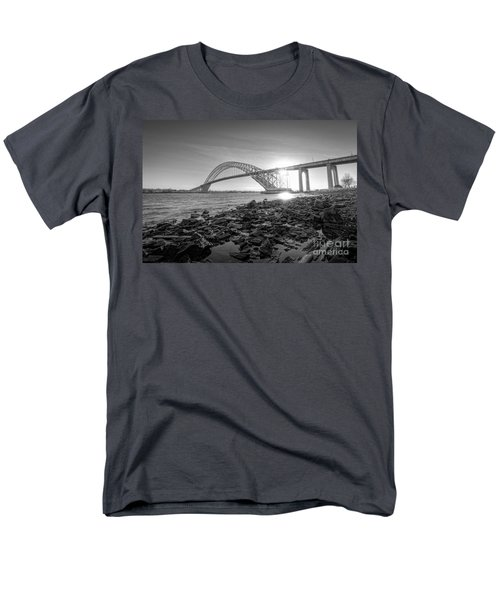 Bayonne Bridge Black And White Men's T-Shirt  (Regular Fit) by Michael Ver Sprill