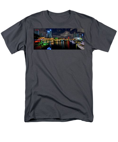 Men's T-Shirt  (Regular Fit) featuring the photograph Bayside Miami Florida At Night Under The Stars by Justin Kelefas