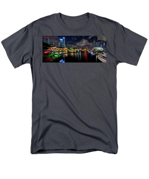 Bayside Miami Florida At Night Under The Stars Men's T-Shirt  (Regular Fit) by Justin Kelefas