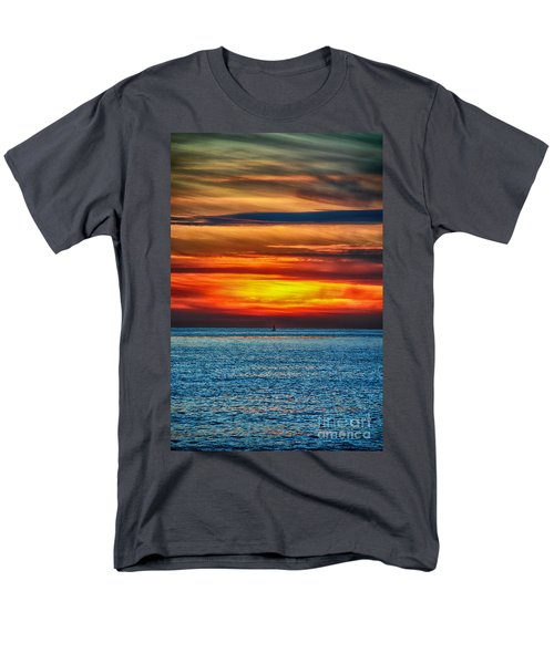 Men's T-Shirt  (Regular Fit) featuring the photograph Beach Sunset And Boat by Mariola Bitner