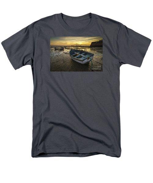 Beached Boat On La Caleta Cadiz Spain Men's T-Shirt  (Regular Fit) by Pablo Avanzini