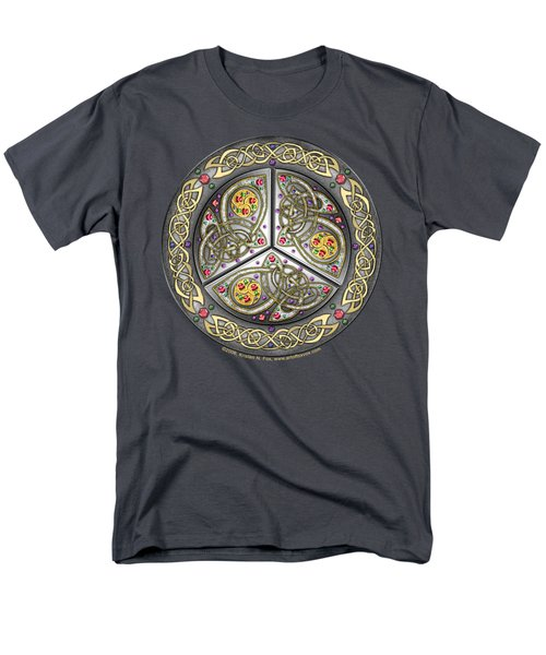 Men's T-Shirt  (Regular Fit) featuring the mixed media Bejeweled Celtic Shield by Kristen Fox