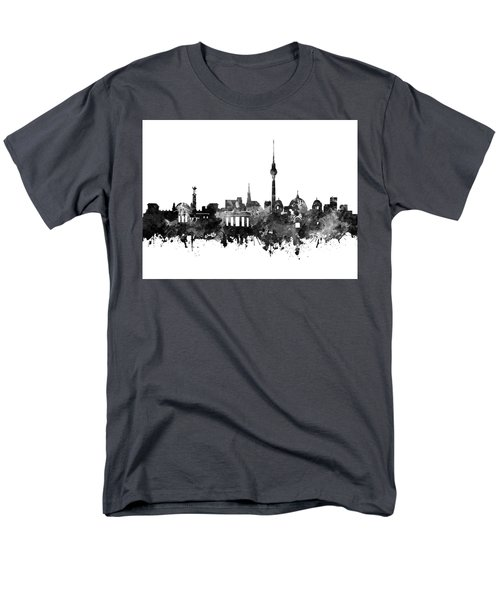 Berlin City Skyline Black And White Men's T-Shirt  (Regular Fit) by Bekim Art