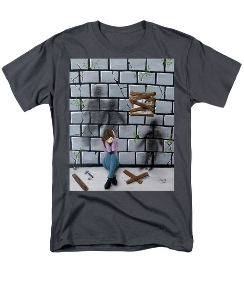 Men's T-Shirt  (Regular Fit) featuring the painting Beyond The Wall by Teresa Wing