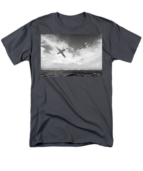 Men's T-Shirt  (Regular Fit) featuring the photograph Bf109 Down In The Channel Bw Version by Gary Eason
