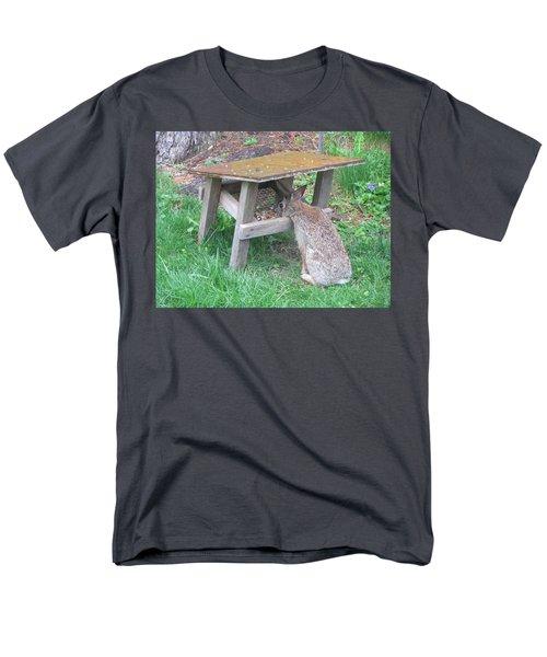 Big Eyed Rabbit Eating Birdseed Men's T-Shirt  (Regular Fit) by Betty Pieper
