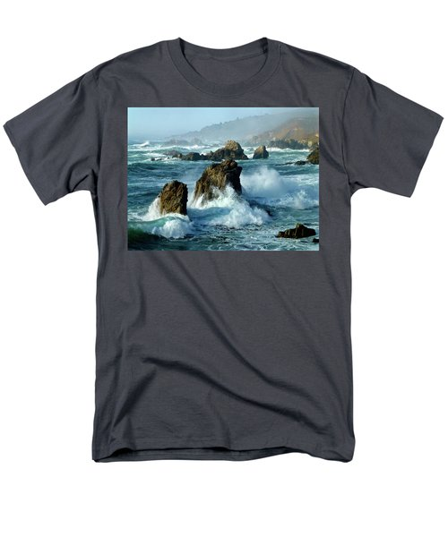 Big Sur Winter Wave Action Men's T-Shirt  (Regular Fit) by Amelia Racca
