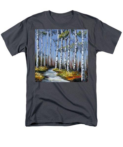 Birch Tree Path Men's T-Shirt  (Regular Fit) by Trina Teele