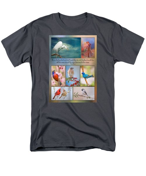 Bird Collage With Motivational Quote Men's T-Shirt  (Regular Fit) by Bonnie Barry