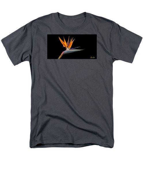 Men's T-Shirt  (Regular Fit) featuring the photograph Bird Of Paradise Flower On Black by Rikk Flohr