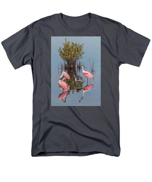Birds, Reflections, And Mangrove Bush Men's T-Shirt  (Regular Fit) by Dorothy Cunningham