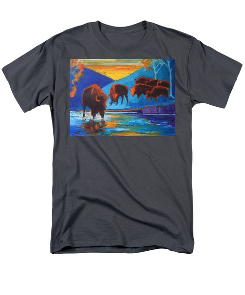 Bison Turquoise Hill Sunset Acrylic And Ink Painting Bertram Poole Men's T-Shirt  (Regular Fit) by Thomas Bertram POOLE