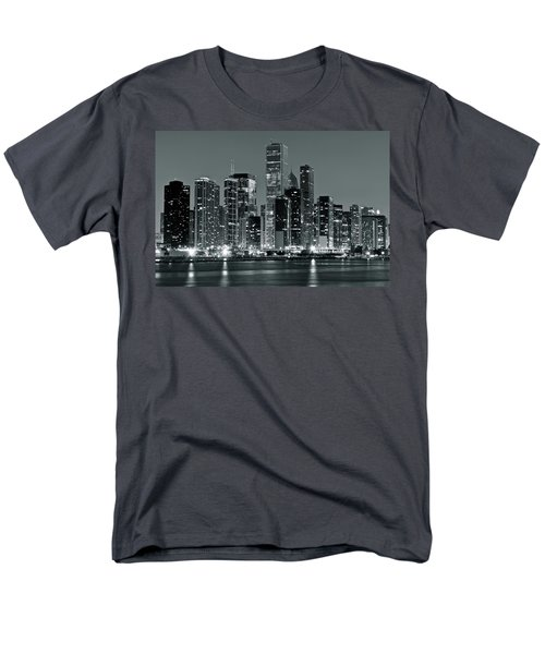 Men's T-Shirt  (Regular Fit) featuring the photograph Black And White And Grey Chicago Night by Frozen in Time Fine Art Photography