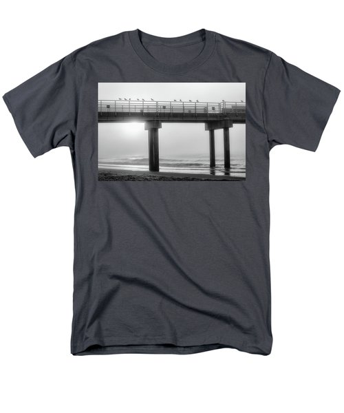 Men's T-Shirt  (Regular Fit) featuring the photograph Black And White Pier Alabama  by John McGraw