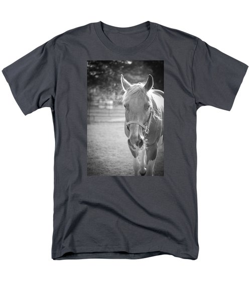 Black And White Portrait Of A Horse In The Sun Men's T-Shirt  (Regular Fit) by Kelly Hazel