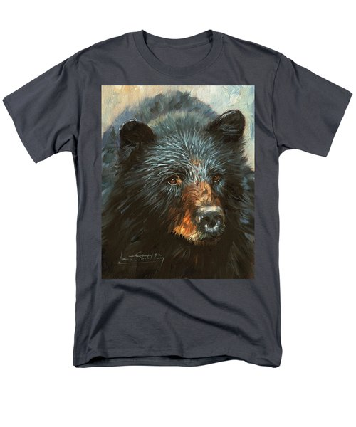 Men's T-Shirt  (Regular Fit) featuring the painting Black Bear by David Stribbling