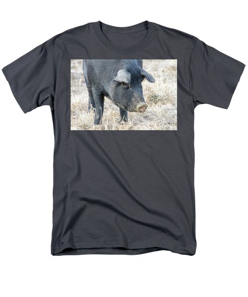 Men's T-Shirt  (Regular Fit) featuring the photograph Black Pig Close-up by James BO Insogna