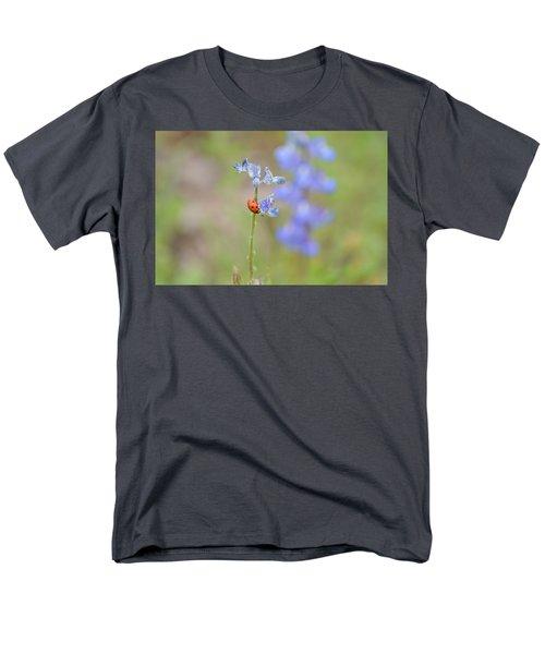 Men's T-Shirt  (Regular Fit) featuring the photograph Blue Bonnets And A Lady Bug by Carolina Liechtenstein