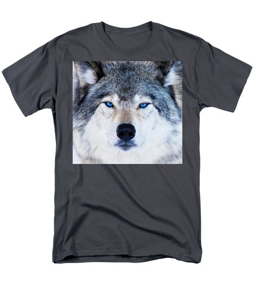 Men's T-Shirt  (Regular Fit) featuring the photograph Blue Eyed Wolf Portrait by Mircea Costina Photography