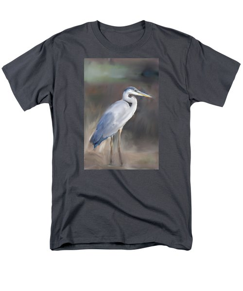 Blue Heron Painting  Men's T-Shirt  (Regular Fit) by Don  Wright