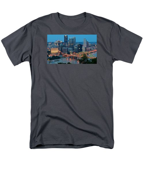Blue Hour In Pittsburgh Men's T-Shirt  (Regular Fit) by Frozen in Time Fine Art Photography