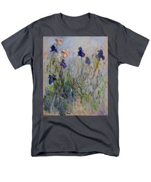 Blue Irises In The Field, Painted In The Open Air  Men's T-Shirt  (Regular Fit) by Pierre Van Dijk