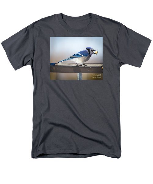 Blue Jay With A Mouth Full Men's T-Shirt  (Regular Fit) by Ricky L Jones
