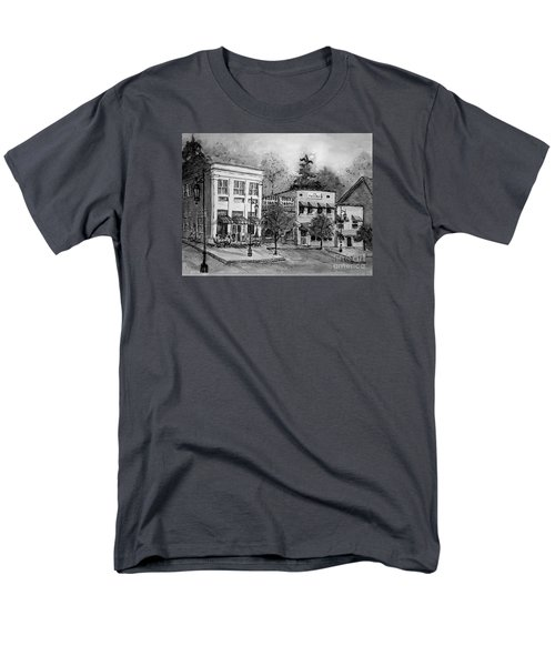 Men's T-Shirt  (Regular Fit) featuring the painting Blue Ridge Town In Bw by Gretchen Allen