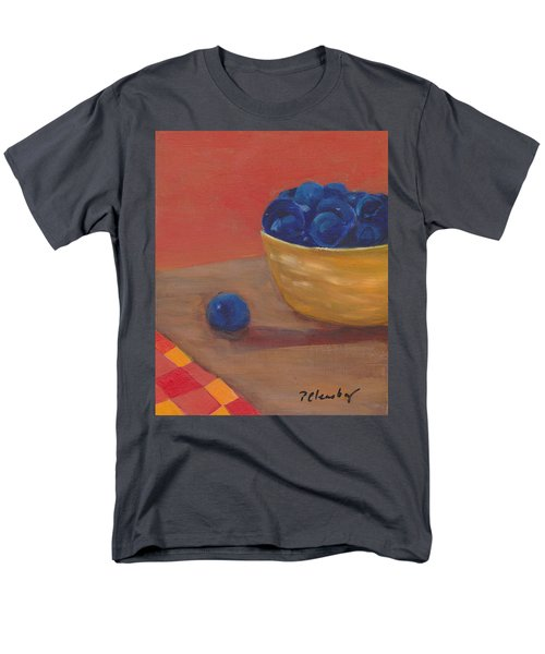 Blueberries Yellow Bowl Men's T-Shirt  (Regular Fit) by Patricia Cleasby