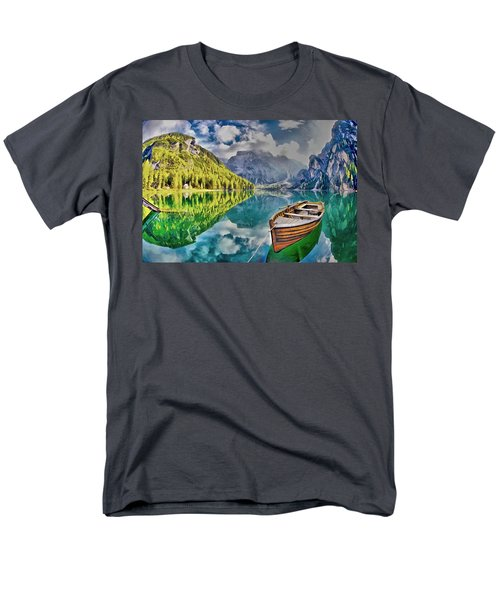 Men's T-Shirt  (Regular Fit) featuring the painting Boat On The Lake by Maciek Froncisz