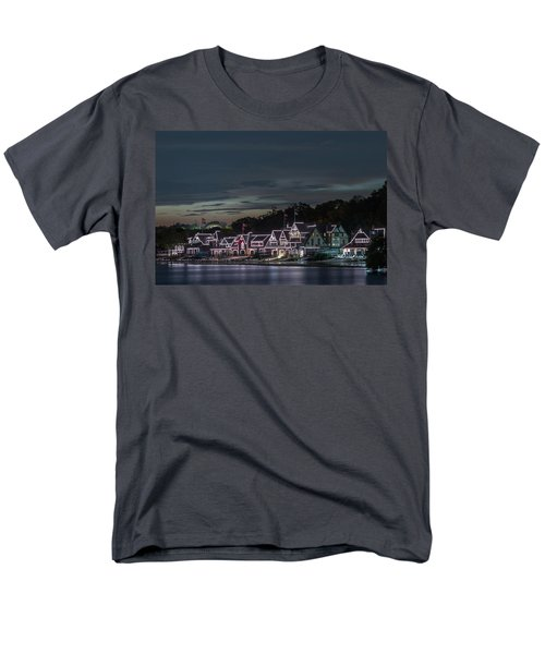 Boathouse Row Philly Pa Night Men's T-Shirt  (Regular Fit) by Terry DeLuco