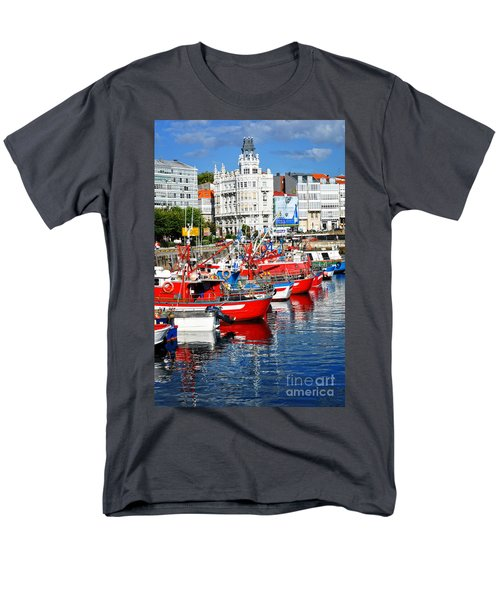 Boats In The Harbor - La Coruna Men's T-Shirt  (Regular Fit) by Mary Machare
