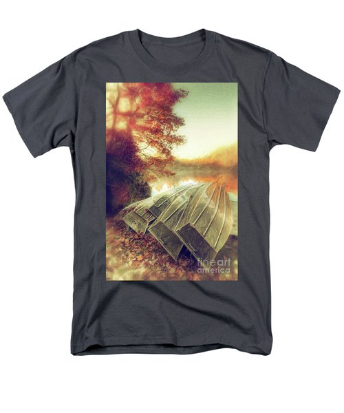 Men's T-Shirt  (Regular Fit) featuring the painting Boats On Price Lake During Autumn Sunrise Ap by Dan Carmichael