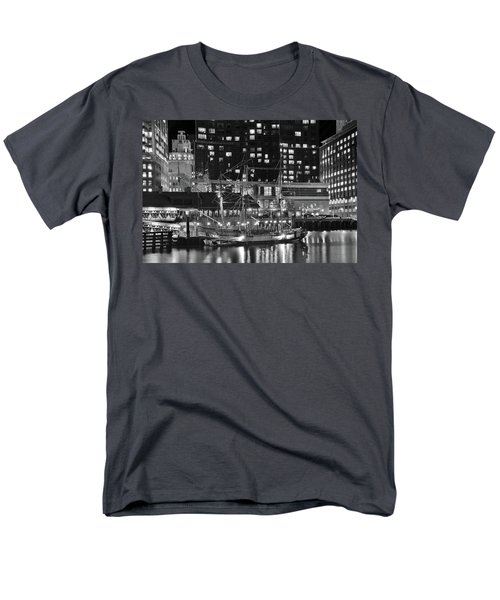 Men's T-Shirt  (Regular Fit) featuring the photograph Bostonian Black And White by Frozen in Time Fine Art Photography