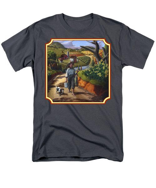 Boy And Dog Country Farm Life Landscape - Square Format Men's T-Shirt  (Regular Fit) by Walt Curlee