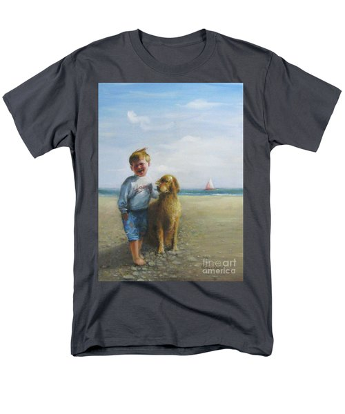 Boy And His Dog At The Beach Men's T-Shirt  (Regular Fit) by Oz Freedgood
