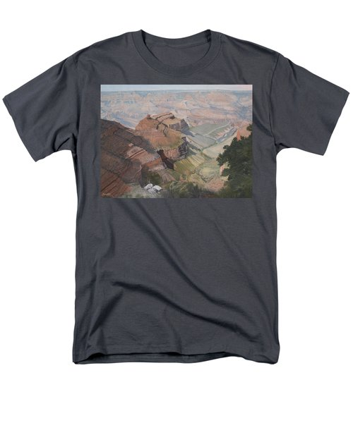 Bright Angel Trail Looking North To Plateau Point, Grand Canyon Men's T-Shirt  (Regular Fit) by Barbara Barber