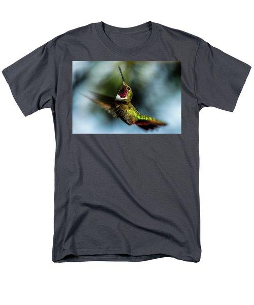 Broad-tailed Hummingbird In Flight Men's T-Shirt  (Regular Fit) by Marilyn Burton