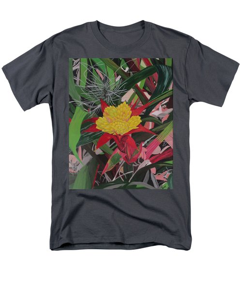 Men's T-Shirt  (Regular Fit) featuring the painting Bromelaid And Airplant by Hilda and Jose Garrancho