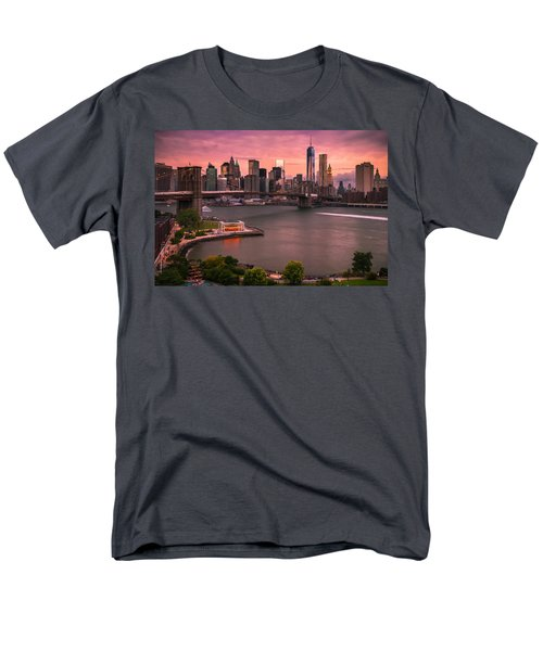 Brooklyn Bridge Over New York Skyline At Sunset Men's T-Shirt  (Regular Fit) by Ranjay Mitra