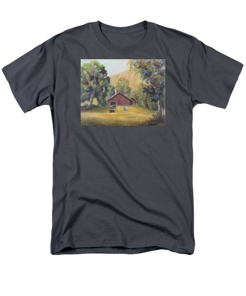 Men's T-Shirt  (Regular Fit) featuring the painting Bucks County Pa Barn by Luczay