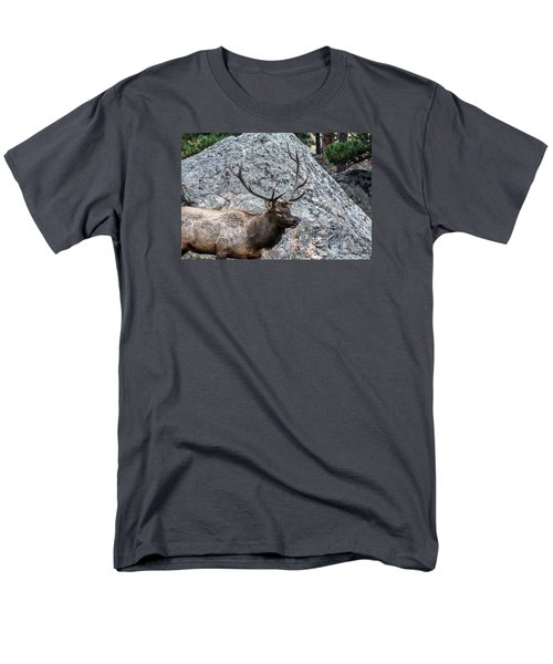 Bull Elk Granite Moss Rock Men's T-Shirt  (Regular Fit) by Stephen  Johnson
