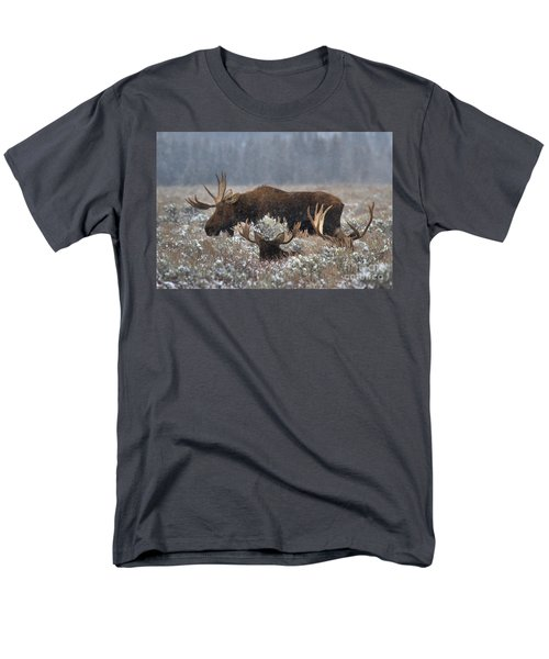 Men's T-Shirt  (Regular Fit) featuring the photograph Bull Moose In The Snowy Meadow by Adam Jewell