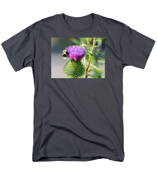 Men's T-Shirt  (Regular Fit) featuring the photograph Bumble Bee And Purple Thistle  by Lyle Crump